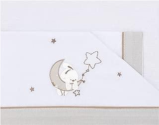 Pirulos 00913110 - Tríptico sábanas, diseño luna, 80 x 140 cm, color blanco y lino