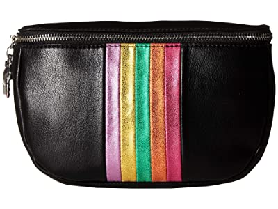 Betsey Johnson Between the Lines Belt Bag (Black) Bags
