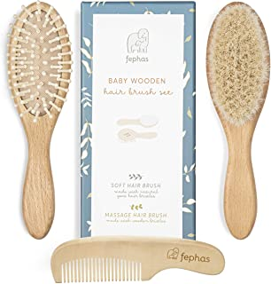 Wooden Baby Hair Brush and Comb Set for Newborns and Toddlers Girl/Boy | Natural Soft Goat Bristles Hairbrush Ideal for Cr...