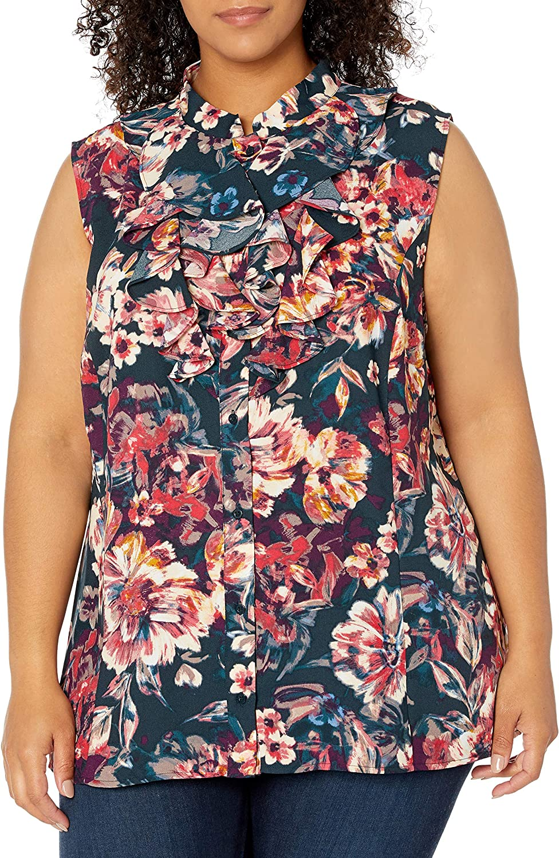 Tahari ASL Women's Sale item Sleeveless Blouse Double Ruffle Regular dealer