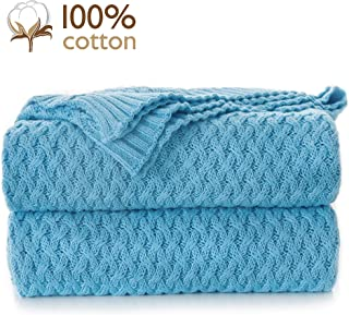 Pumpkin Town Light Blue 100% Cotton Cable Knit Autumn Throw Blanket for Soft Sofa, Chair, Couch, Picnic, Camping, Beach, Home Decorative Knitted Blanket, 50