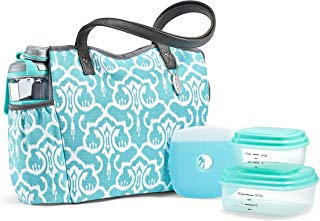Fit & Fresh Harrisville Lunch Bag Kit with BPA-Free Containers and Active Shaker Bottle, Aquamarine Ikat Damask