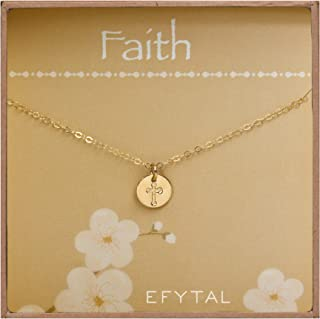 EFYTAL Small Cross Necklace for Women and Girls, Christian Gifts for Easter, First Communion, Confirmation, Baptism, Gold Filled Dainty, Tiny Pendant Jewelry, Religious Gift for Catholic Birthday