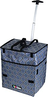 ArtBin 6822AG Rolling Tote, Lightweight Collapsible Wheeled Craft Bag - Black/Gray, 18 x 13.75 x 13.5 in. Art Supplies Storage Tote, Retractable Handle, Shoulder Strap, For ArtBin Super Satchel System