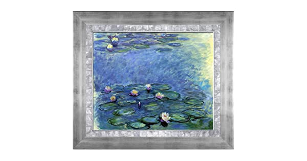 Blue and Grey by Monet Hand Painted Oil with Grazed Silver King and Pearl Custom Stacked Frame MON2973-FR-X401920X24 overstockArt Water Lilies