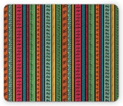 Ambesonne Hippie Mouse Pad, Hand Drawn Vertical Borders Colorful Native Culture Inspired, Rectangle Non-Slip Rubber Mousepad, Standard Size, Coral Seafoam