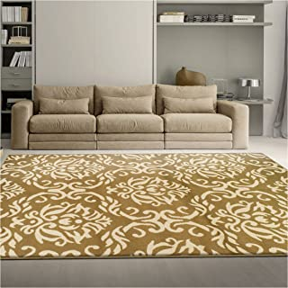 Superior Fleur de Lis Collection, Elegant Scrolling Damask Pattern, 10mm Pile with Jute Backing, Affordable Contemporary Area Rugs - Gold, 4' x 6' Rug
