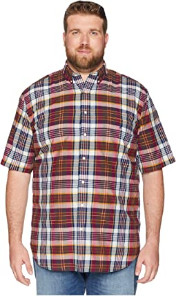 Big & Tall Madras Plaid Short Sleeve Sport Shirt