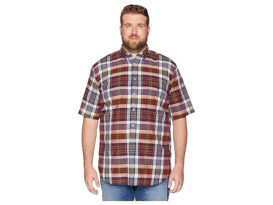 Polo Ralph Lauren Big Tall Madras Plaid Short Sleeve Sport Shirt (Merlot/Cream Multi) Men