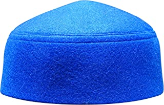Solid Blue Moroccan Fez-Style Kufi Hat Cap w/Pointed Top