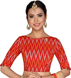 STUDIO Shringaar Women's Red Ikkat Pure Cotton Stitched Saree Blouse With 3/4th Sleeves