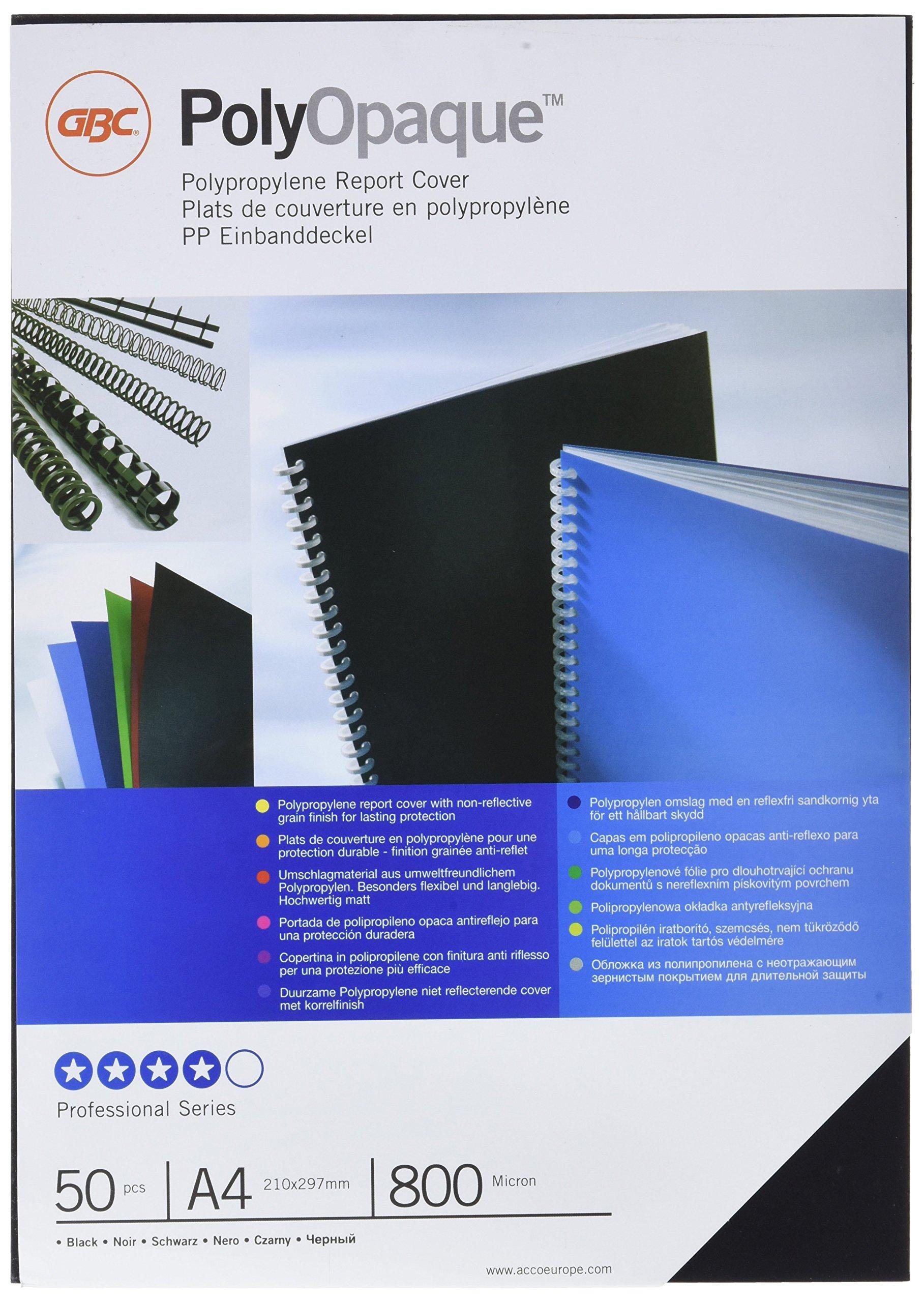 GBC ESP425804 - Portada de encuadernación PP POLYCOVER opaca 800 micras DIN A4 (Pack 50) color negro: Amazon.es: Oficina y papelería