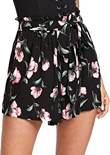 Women's Tie Bow Floral Print Summer Beach Elastic Shorts