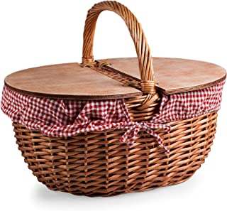 PICNIC TIME 138-00-300-000-0 Time Country Picnic Basket with Red/White Gingham Liner, 2.1,