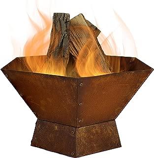 Sunnydaze Rustic Cast Iron Hexagon Outdoor Fire Pit Bowl - 23-Inch Metal Outdoor Wood Burning Bonfire Pit - Patio and Backyard Fireplace Kit