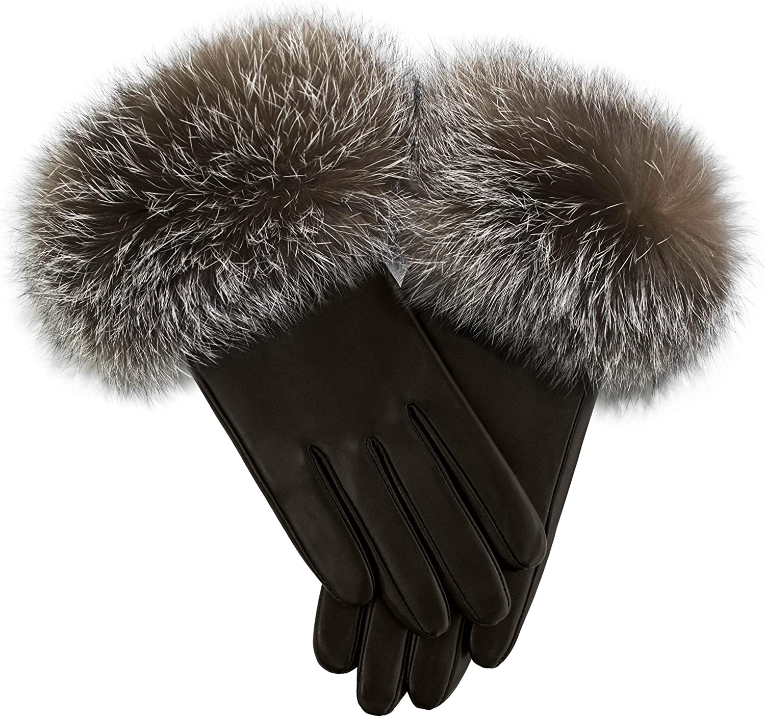 Brown Italian Lamb Leather Gloves with Crystal Fox Fur Trim