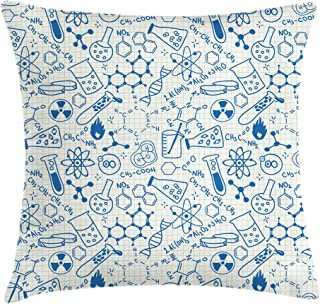Ambesonne Children Throw Pillow Cushion Cover, Science Chemistry Geometry Math Nerd Geek and Genius Themed Design Artwork, Decorative Square Accent Pillow Case, 16