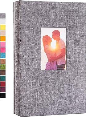 potricher Photo Album for 4x6 300 Photos Linen Cover Photo Book for Family Wedding Anniversary Baby (Grey, 300 Pockets)