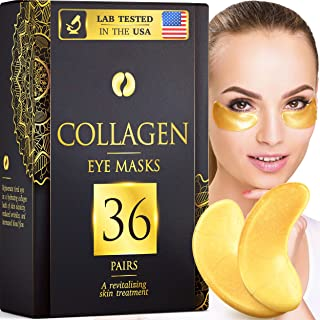 36 Pairs Collagen Under Eye Masks, 24K Gold Under Eye Patches (Reduce Bags and Puffiness), Dark Circles Under Eye Treatment, Eye Masks for Dark Circles and Puffiness, Under Eye Pads for Puffy Eyes