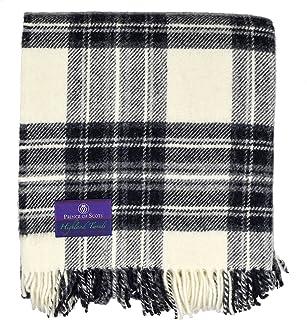Prince of Scots Highland Tartan Tweed 100% Pure New Wool Fluffy Throw ~ Grey Dress Stewart ~