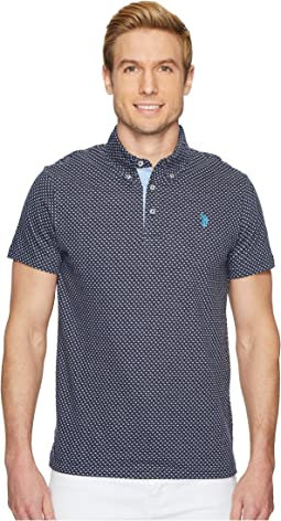 Short Sleeve Slim Fit Jacquard Jersey Polo Shirt