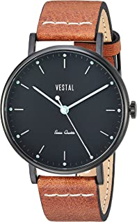 Vestal 'Sophisticate' Swiss Quartz Stainless Steel and Leather Dress Watch, Color:Brown (Model: SP42L07.LBWH)