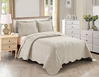 Home Collection 3pc Full/Queen Over Size Elegant Embossed Bedspread Set Light Weight Solid Beige New