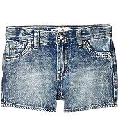 High-Rise Denim Shorty Shorts (Little Kids)