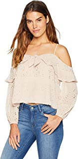ASTR the label Women's Kimberly Cold Shoulder Long Sleeve Eyelet Ruffle Top