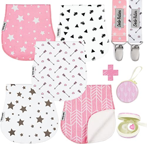 Baby Burp Cloths Pack of 5 by Dodo Babies + 2 Pacifier Clips + Pacifier Case Premium Quality for Girls Soft and Absor...