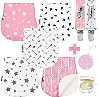 بسته بسته پارچه ای کودک 5 عددی توسط نوزادان دودو + 2 گیره پستانک + مورد پستانک ، کیفیت عالی برای دختران نرم و جذب کننده ، دوش کودک عالی / هدیه رجیستری
