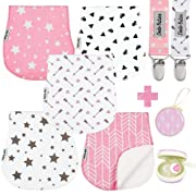 Baby Burp Cloths Pack of 5 by Dodo Babies + 2 Pacifier Clips + Pacifier Case, Premium Quality For Girls Soft and Absorbent, Excellent Baby Shower/Registry Gift