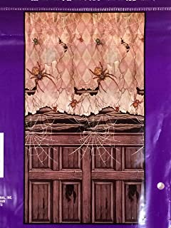 Wall Decor Scary Spider Scene Halloween Door Cover Creepy Mural Prop or Party Decoration
