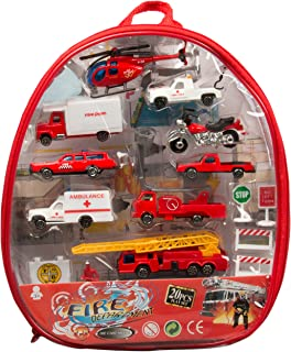 Fire Department Car Set - 20 Different Die-Cast Portable Emergency Related Vehicles - Play Set in a Backpack