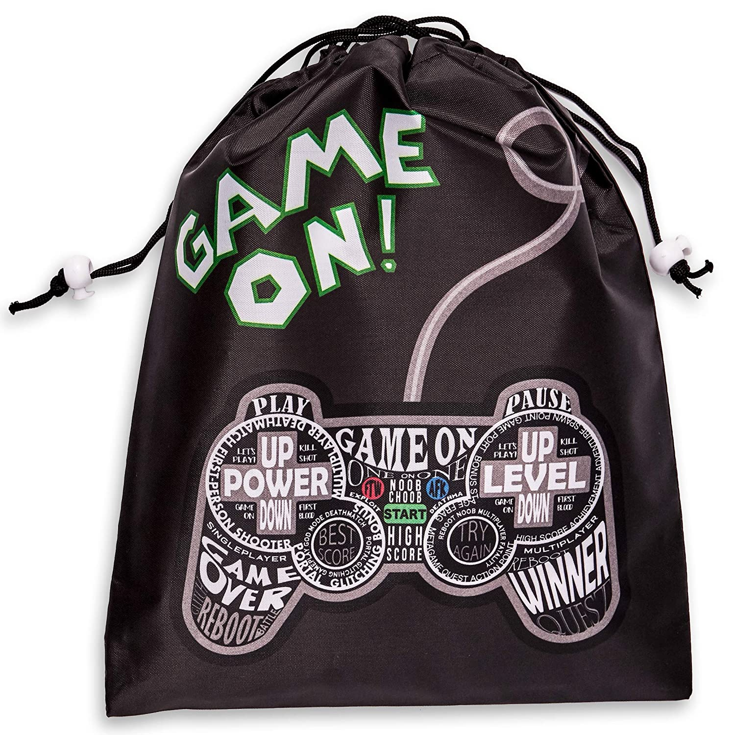 Juvale 12-Pack Drawstring Party Favor Bags, Video Gamer Supplies, Game On Design, 9.5 x 12 inches