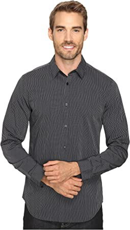 Slim Fit Long Sleeve Infinite Cool Button Down Stripe Shirt