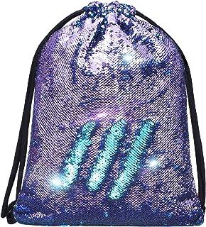 Mermaid Sequin Drawstring Bags Reversible Sequin Dance Bags Gym Backpacks for Girls Kids
