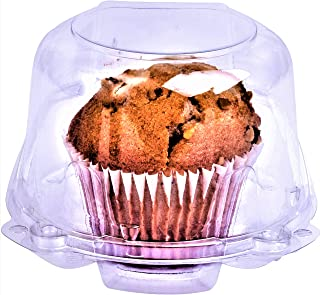 Green Direct Muffin/Jumbo Cupcake Boxes - Clear Plastic Dome Muffin Holder Single Compartment Pack of 50