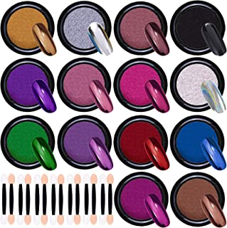 Duufin 14 Jars Chrome Nail Powder Metallic Nail Art Powder Mirror Effect Manicure Pigment 14 Colors Nail Powders with 14 Pcs Eyeshadow Sticks, 1g/Jar