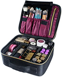 Travel Makeup Train Case Organizer Bag, Portable Cosmetic Case Artist Storage Bag with Adjustable Dividers for Cosmetics & Makeup Brushes or Toiletries (Velvet Red)
