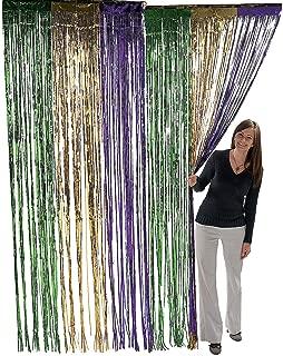 Mardi Gras Themed Metallic Foil Fringe Curtains 3 Feet X 8 Feet