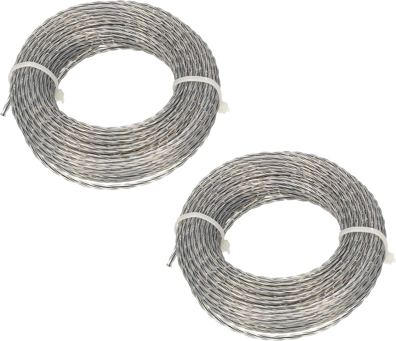 KOTARBAU® Juego de 2 Línee de Corte de 3mm 30m para Cortacésped Espiral Cuadrada Núcleo Reforzado Profesional