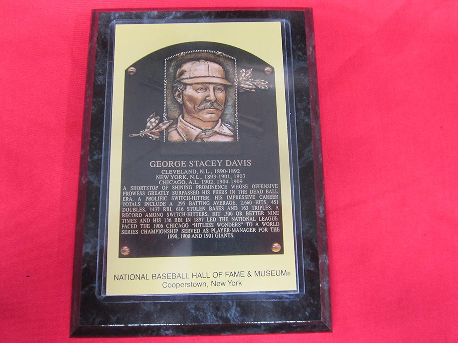George Davis 1998 Hall of Fame Induction Postcard Plaque NEW!!