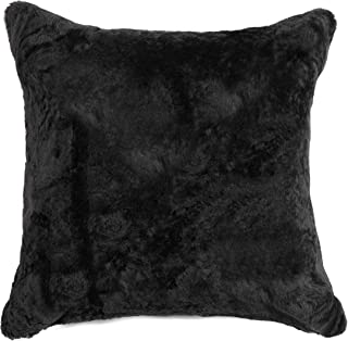 Natural Luxury Soft Premium Quality Durable Thick & Lush 100% Nelson Sheepskin Fur Pillow, Black ( 18 in x 18 in )