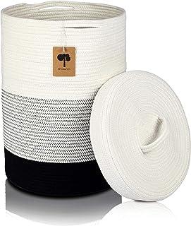 Panier à linge avec couvercle blanc, panier de rangement pliable tressé – Panier à linge en tissu pour chambre d'enfant, r...
