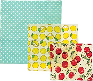 Eco-friendly Reusable Food Wraps by BeeWize-An Organic Alternative to Plastic Wrap-Washable and Biodegradable-3-Pack Gently Scented with Lemon Essential Oil