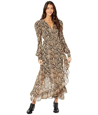 WAYF Freeport Long Sleeve Wrap Midi Dress (Brown Python) Women