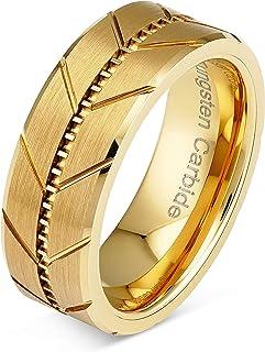 100S مجوهرات شخصية محفورة من كربيد التنجستين خواتم للرجال الذهب الزفاف العصابات ميلغراين نمط مشطوف الحافة حجم 6-16