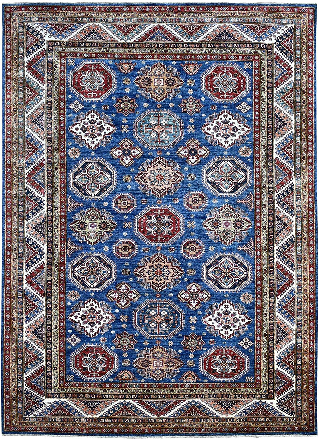 Shahbanu Rugs Denim Blue with 1 year warranty Pop Woo of Hand Pure Max 65% OFF Color Knotted
