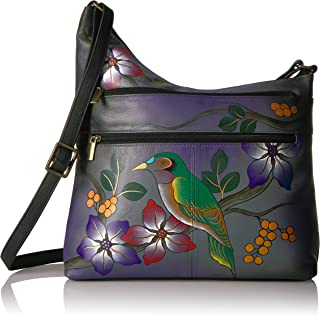 Anna by Anuschka Women's Genuine Leather Twin Zip-Top Small Hobo | Medium Multi-Pocket Shoulder Bag